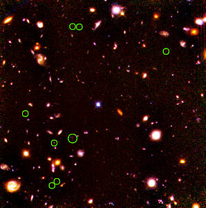 Location of candidate high-redshift galaxies