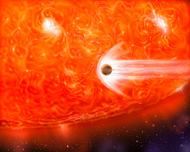 Bloated Stars Swallow Giant Planets (artist's impression)