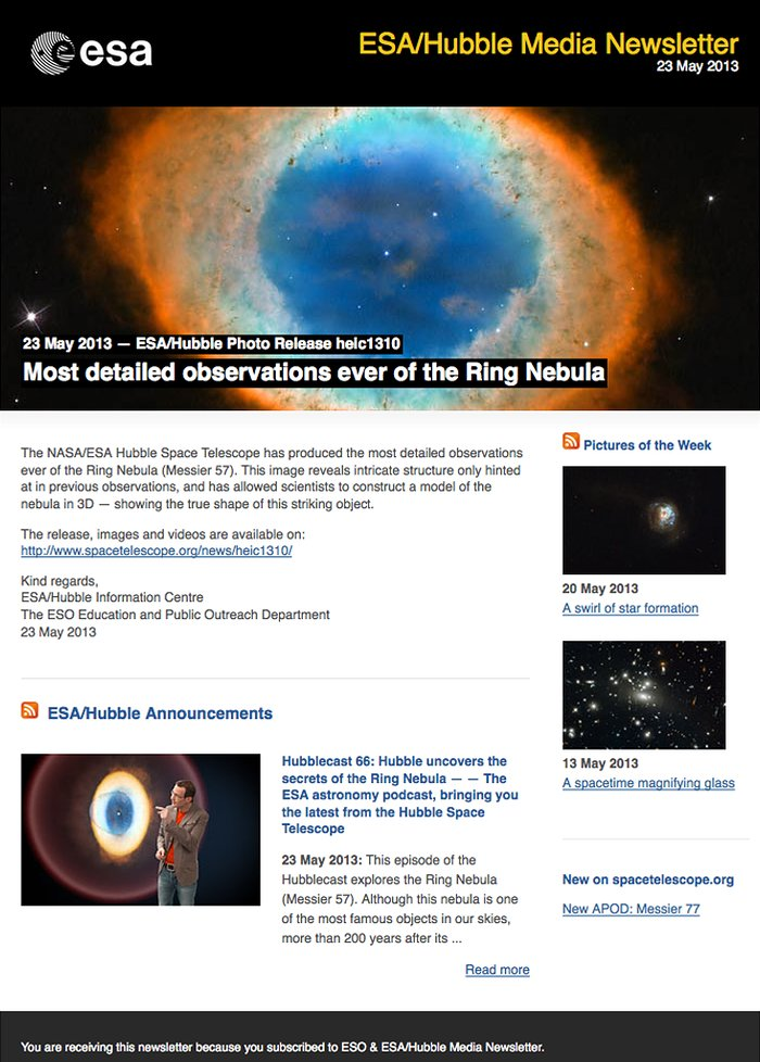 Hubble media newsletter — 23 May 2013