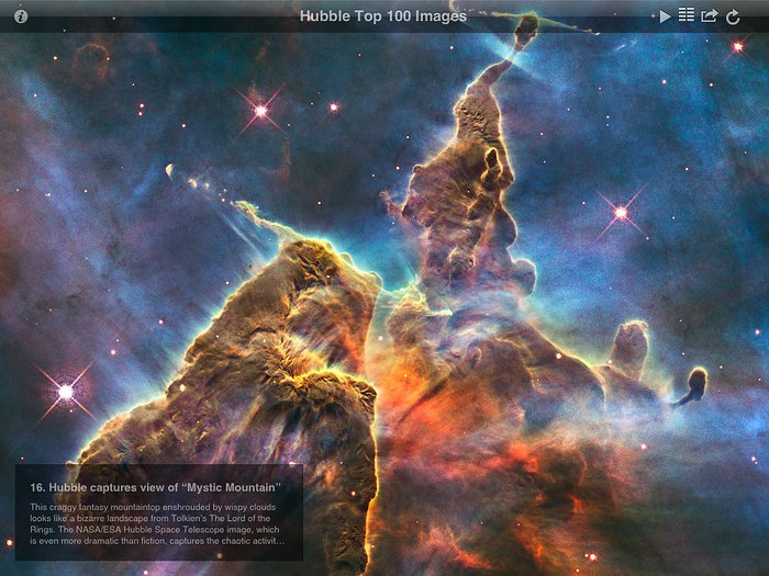 Screenshot from ESA/Hubble Top 100 Images v2.0 app