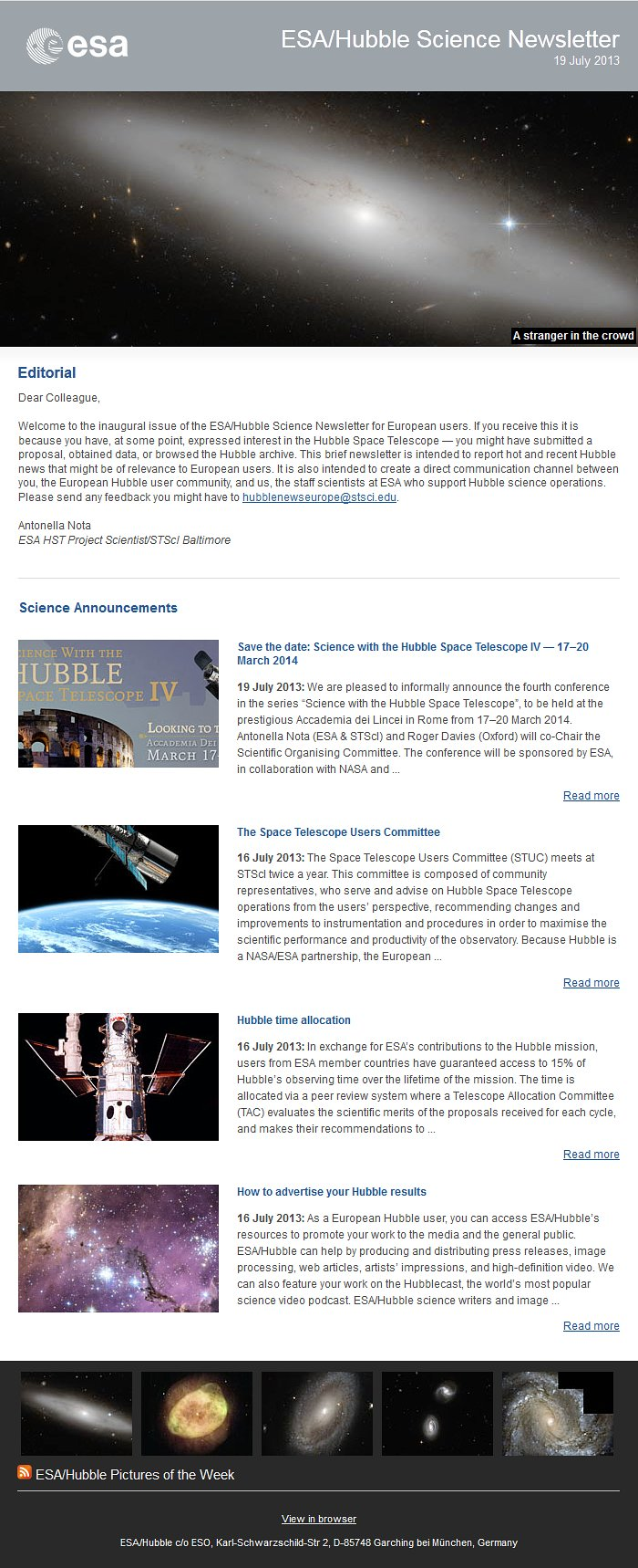 The July 2013 issue of the ESA/Hubble Science Newsletter