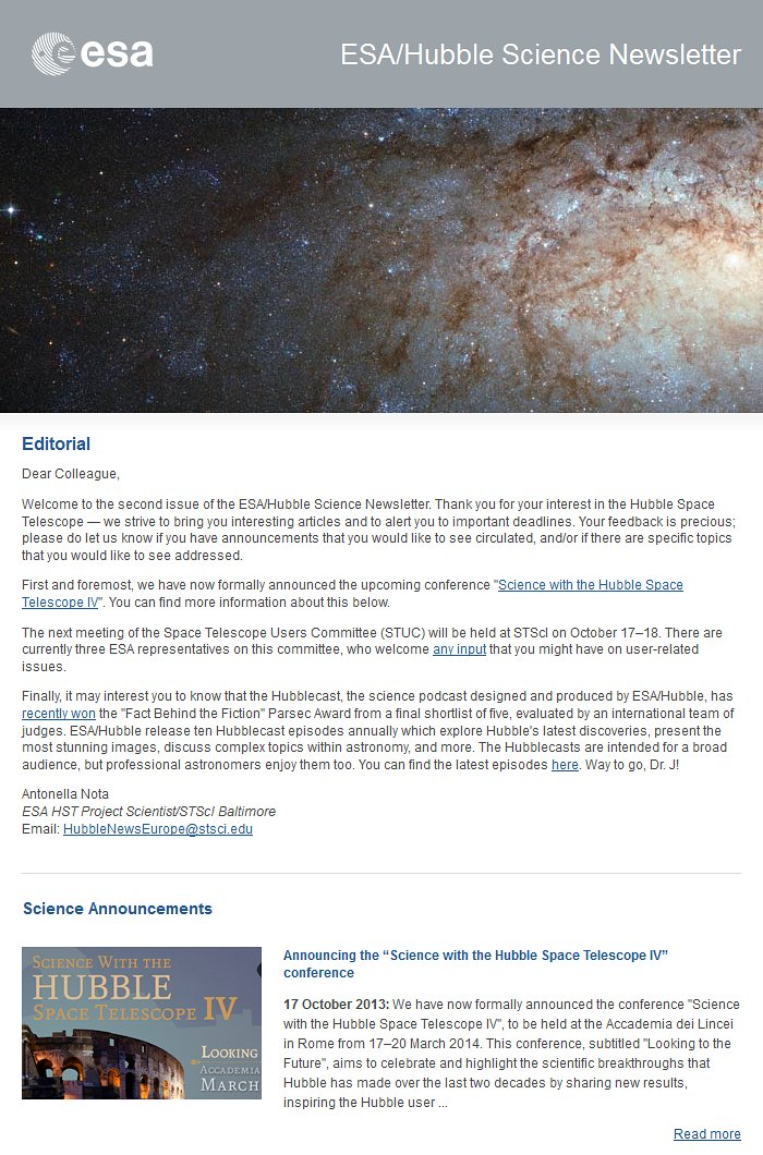The October 2013 issue of the ESA/Hubble Science Newsletter