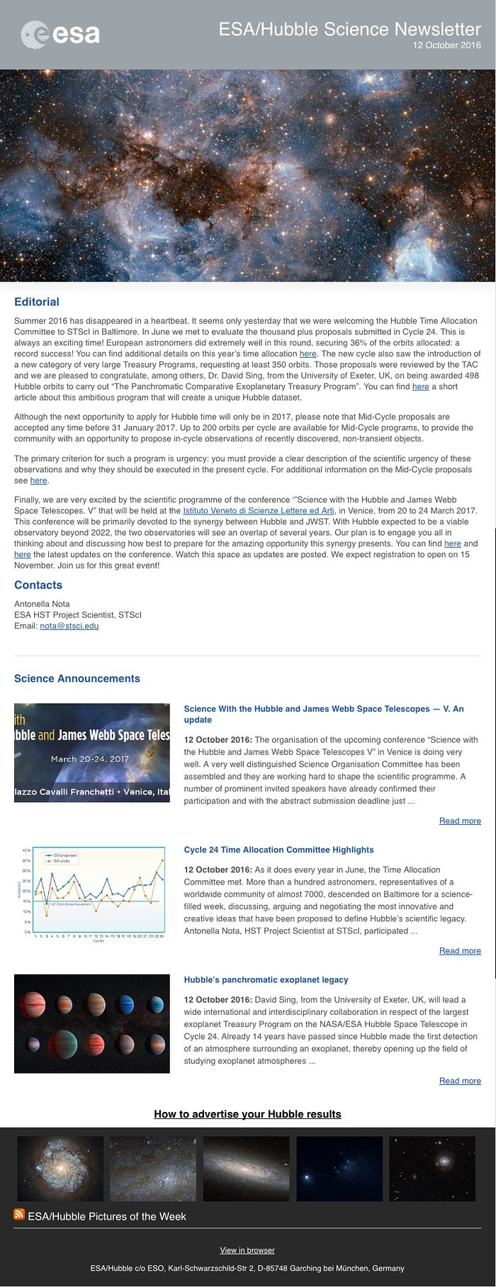 Screenshot of the October issue of ESA/Hubble Science Newsletter