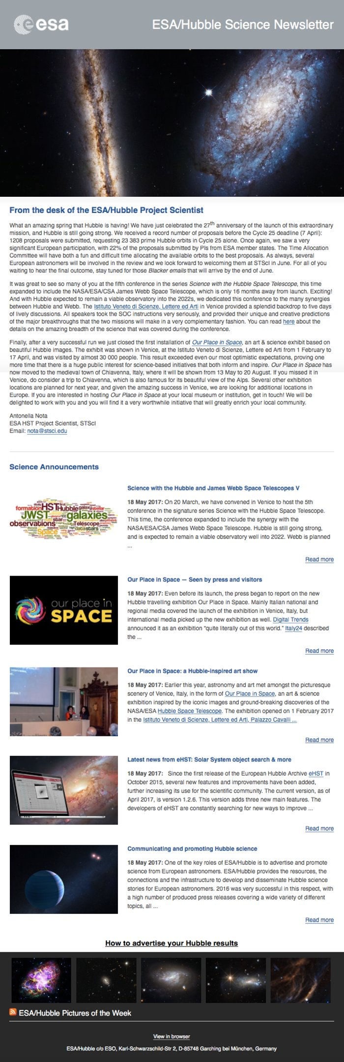 Screenshot of the May 2017 issue of ESA/Hubble Science Newsletter
