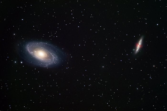 Ground-based view of two galaxy neighbours: M81 and M82