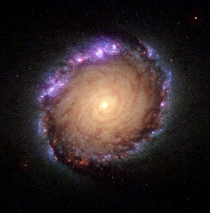 Composite ultraviolet-visible-infrared image of NGC 1512