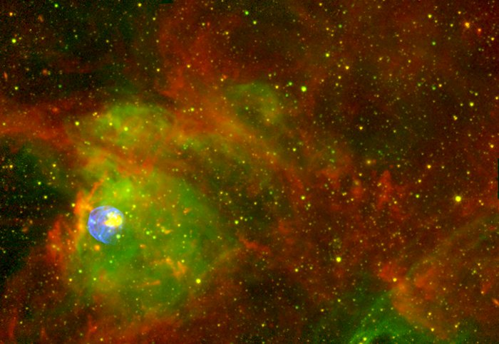 Spitzer, Chandra, CTIO Image of N 63A - Wide Field