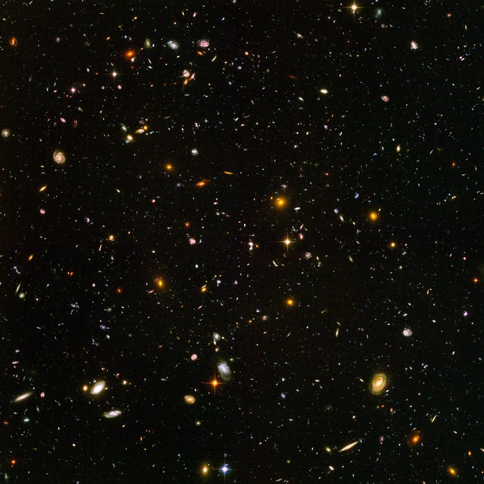 This view of nearly 10,000 galaxies is called the Hubble Ultra Deep Field. The snapshot includes galaxies of various ages, sizes, shapes, and colours. The smallest, reddest galaxies, about 100, may be among the most distant known, existing when the universe was just 800 million years old. The nearest galaxies - the larger, brighter, well-defined spirals and ellipticals - thrived about 1 billion years ago, when the cosmos was 13 billion years old. The image required 800 exposures taken over the course of 400 Hubble orbits around Earth. The total amount of exposure time was 11.3 days, taken between Sept. 24, 2003 and Jan. 16, 2004.