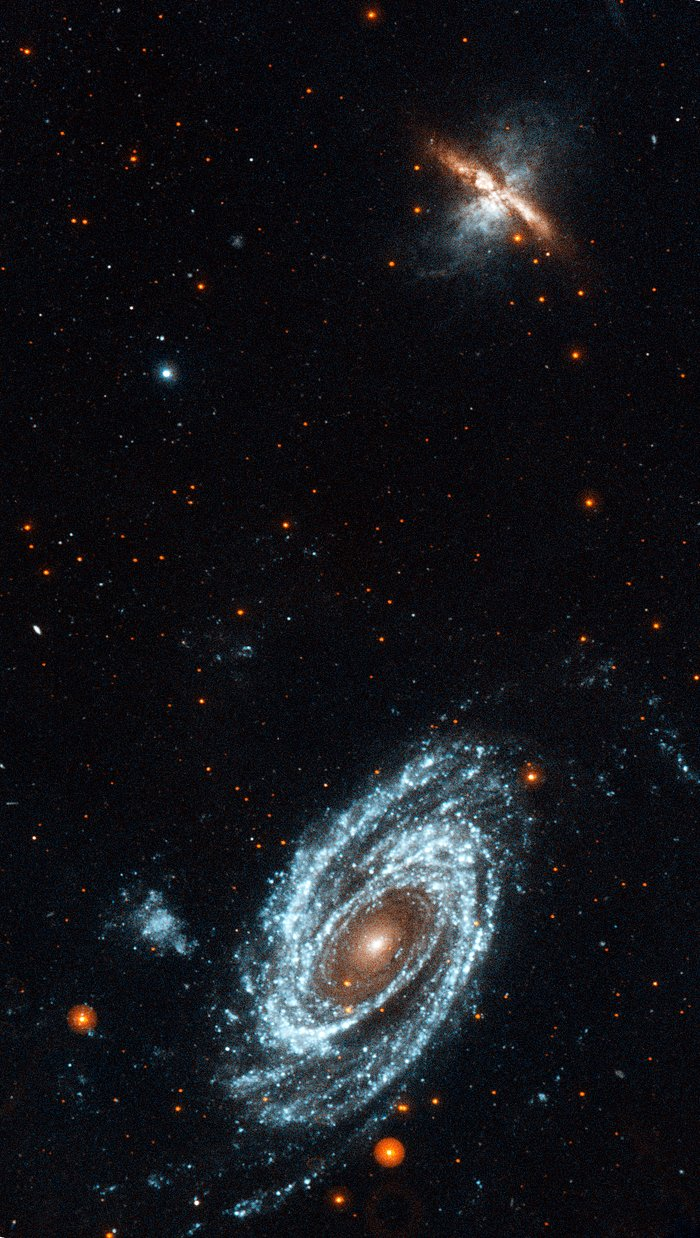 GALEX ultraviolet image of the interacting galaxies M81 and M82