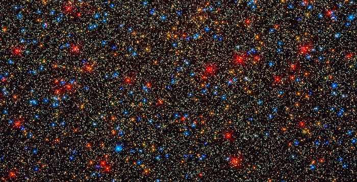 Colourful stars galore inside the globular star cluster Omega Centauri