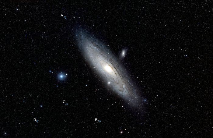 Labelled wide-field view of the Andromeda Galaxy (ground-based image)