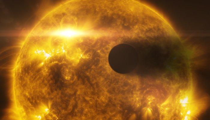 Stellar flare hits HD 189733b (artist's impression)
