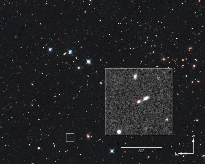 Record-breaking supernova in the CANDELS Ultra Deep Survey (compass and scale)