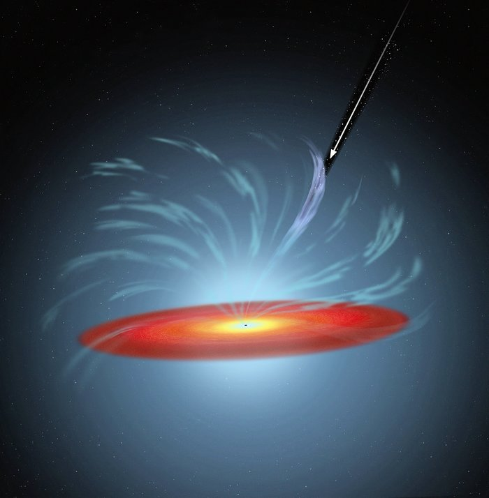 Artist's impression of gas filament eclipsing a black hole