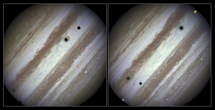 Three moons and their shadows parade across Jupiter — comparison of beginning and end of sequence, without annotations