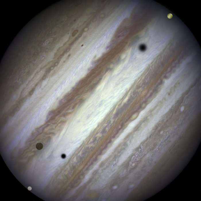 Three moons and their shadows parade across Jupiter — end of event