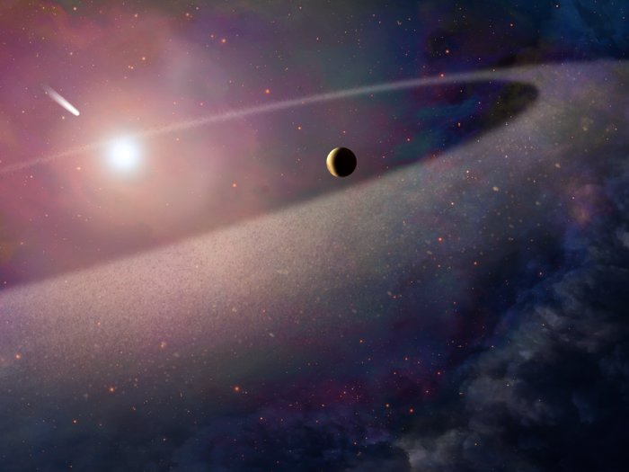 Comet falling into white dwarf (artist's impression)