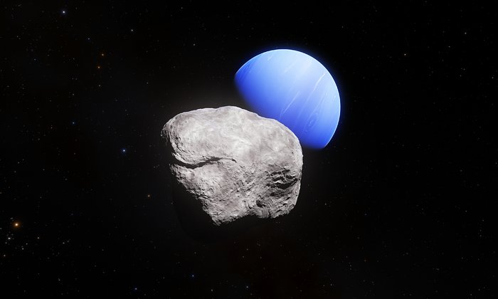 Neptune and its smallest moon Hippocamp (artist's impression)