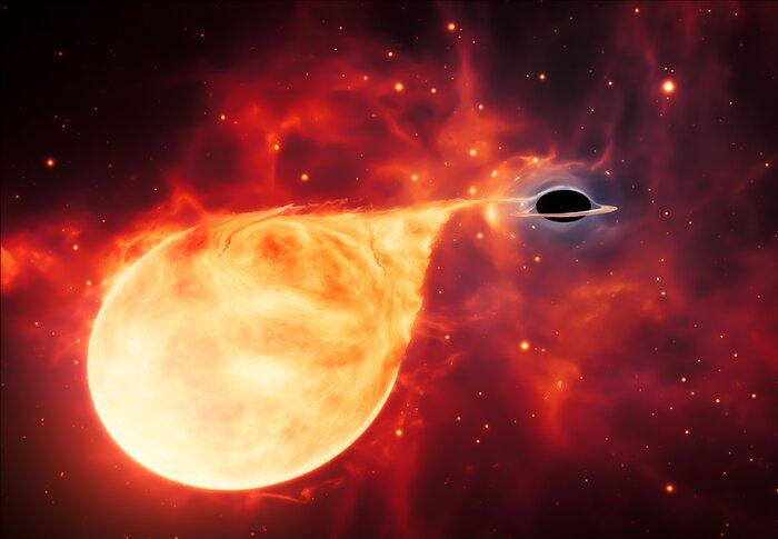 Intermediate-Mass Black Hole with Torn-Apart Star (Artist's Impression)