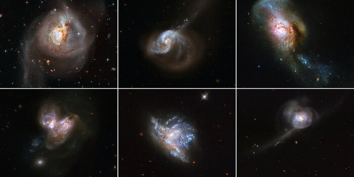 Hubble Showcases 6 Galaxy Mergers