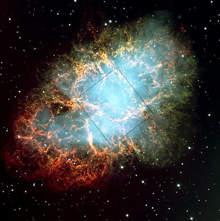 Crab nebula: VLT field, HST image outlined