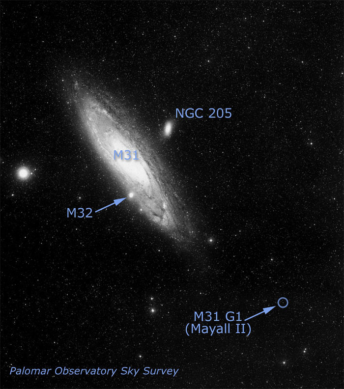 Location of Globular Cluster G1 in Galaxy M31