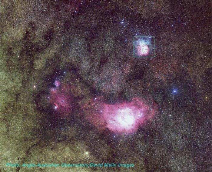 M8 (Lagoon Nebula) and M20 (Trifid Nebula)