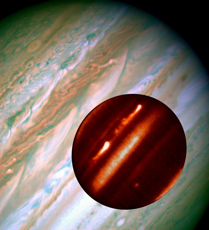 Hubble/IRTF Composite Image of Jupiter Storms