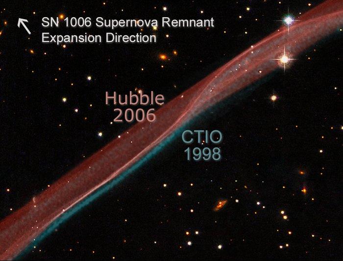 SN 1006 Supernova Remnant Expansion Comparison