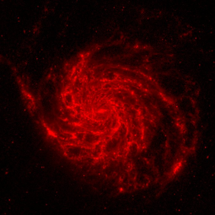 M101 composite image: Spitzer data (red component)