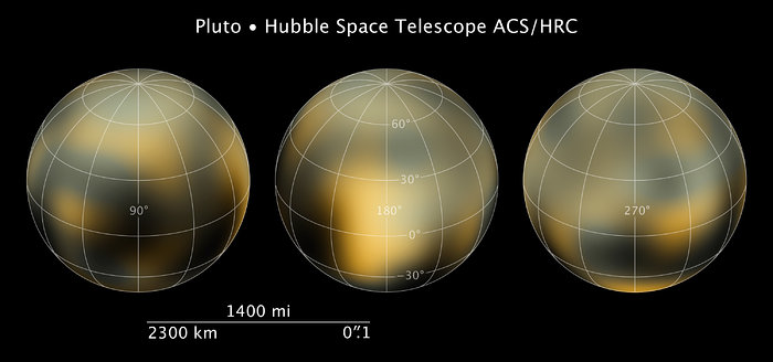 Compass and scale image for Pluto