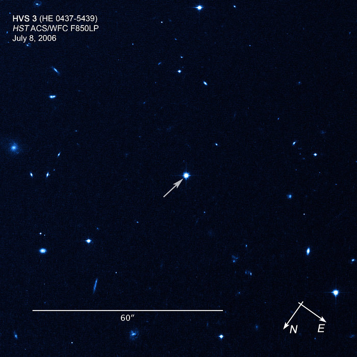 Compass/scale image of hypervelocity star HE 0437-5439