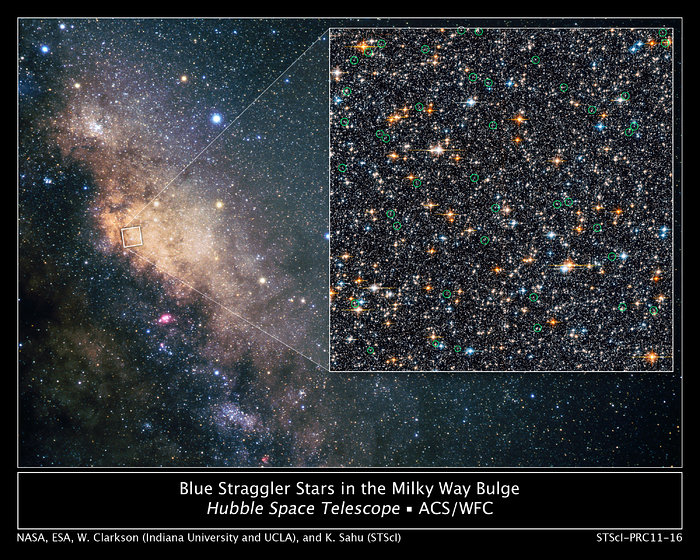 Hubble finds blue straggler stars in the galactic bulge
