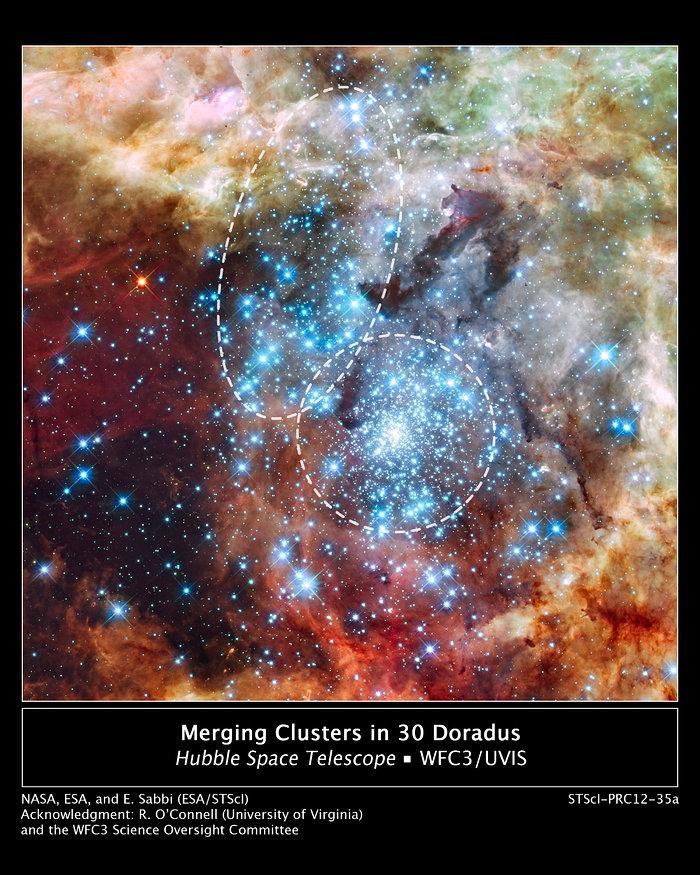 Montage image: merging clusters in 30 Doradus