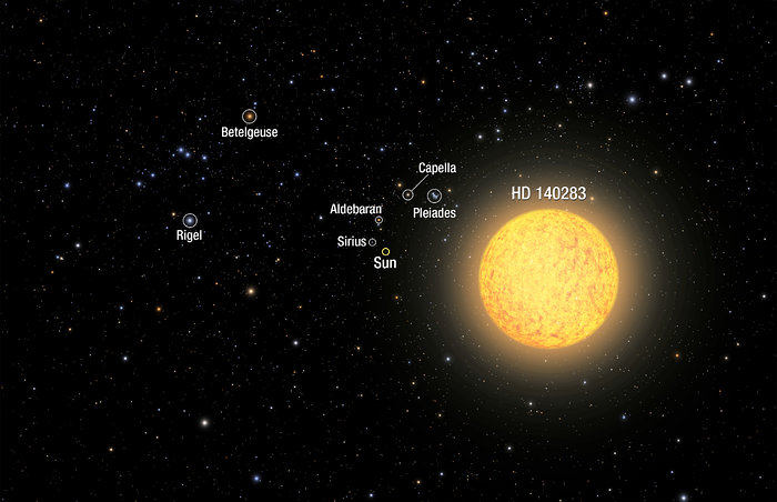 Artist's view of ancient star (Annotated)
