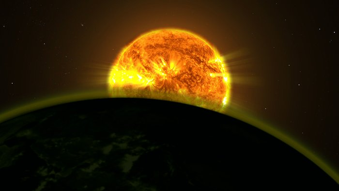 Hubble traces faint signatures of water in exoplanet atmospheres (artist's illustration)