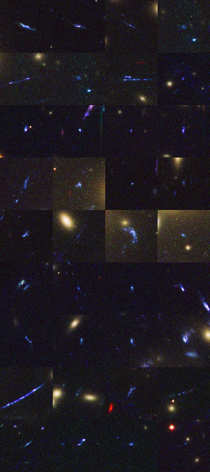 Distant galaxies behind Abell 1689