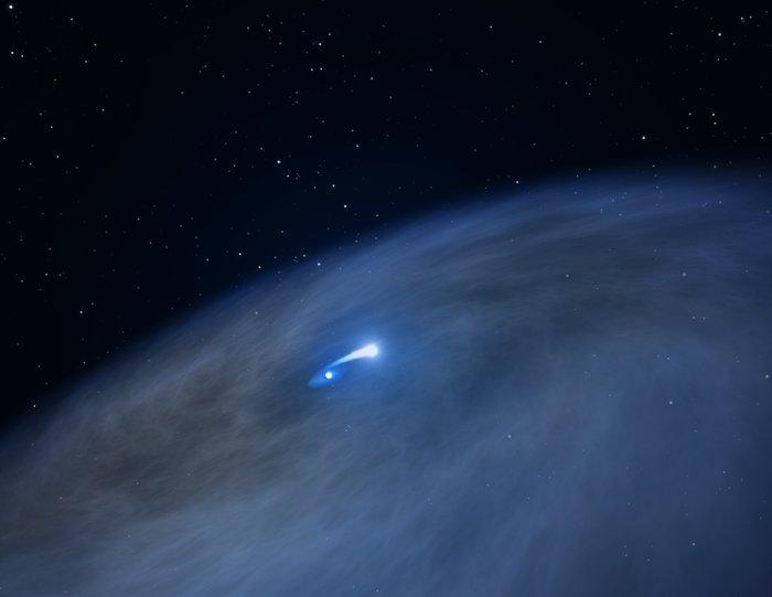 Hubble spies vast gas disk around unique massive star