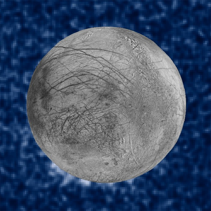 Photo composite of suspected water plumes on Europa