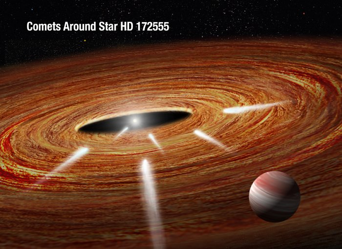 Exocomets plunging into a young star (artist's impression)