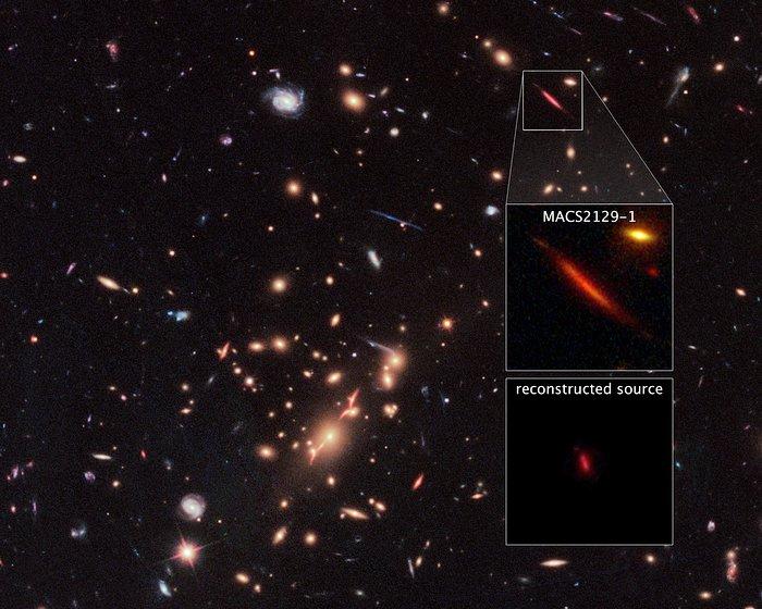Galaxy cluster MACS J2129-0741 and lensed galaxy MACS2129-1