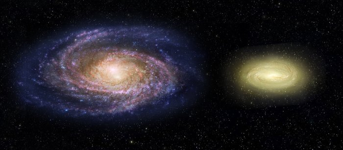 MACS2129-1 compared with the Milky Way (artist's impression)