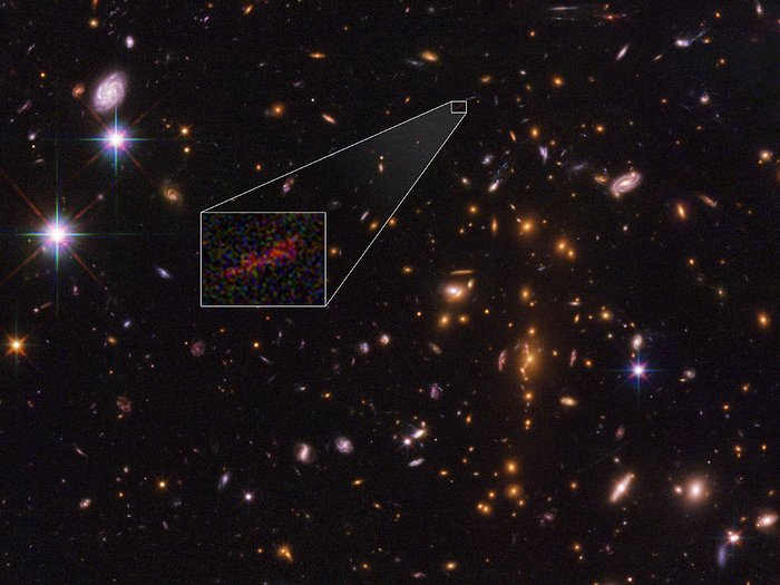 Stretched out image of distant galaxy