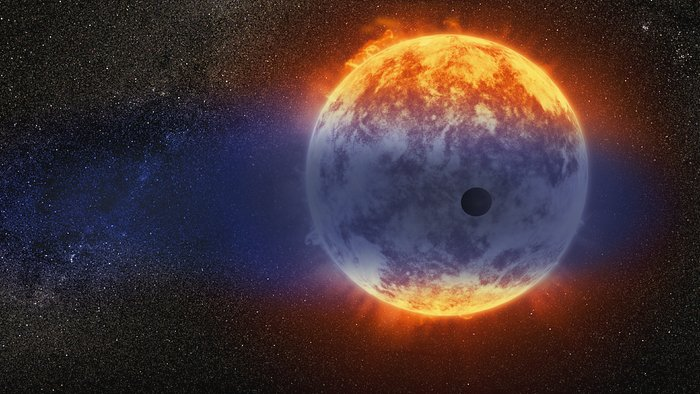 Artist's impression of gas streaming from GJ 3470b
