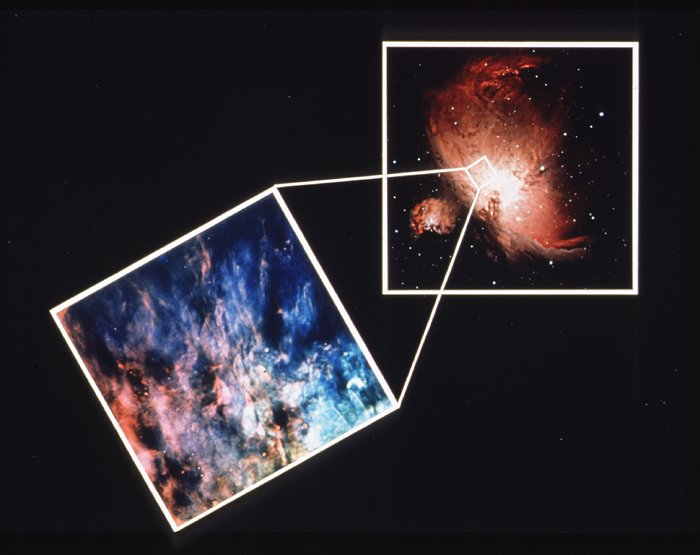Orion Nebula HST view versus ground-based view