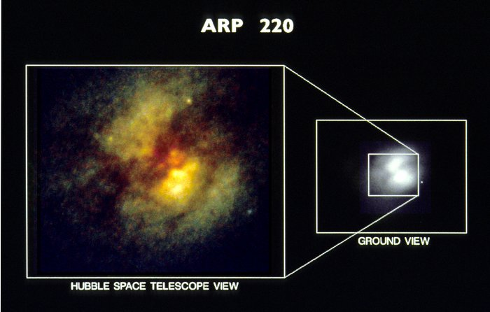 HST Planetary Camera Images of Core of Peculiar Galaxy Arp 220 (Ground-based image vs. HST)