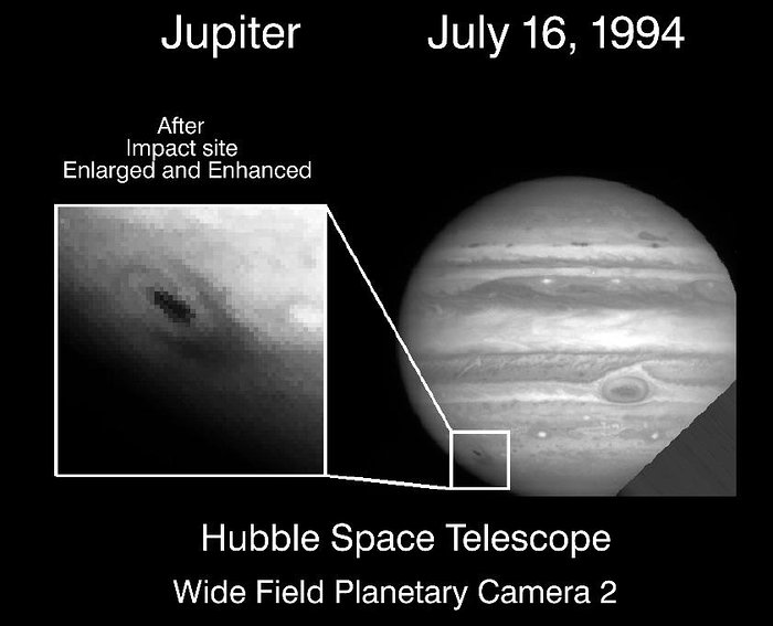 Hubble image of comet Shoemaker-Levy first fragment impact with Jupiter