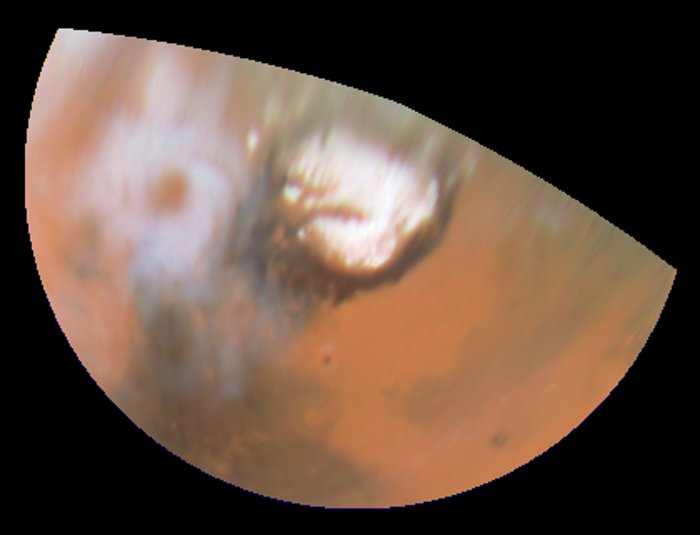 Hubble Views Collossal Polar Cyclone on Mars