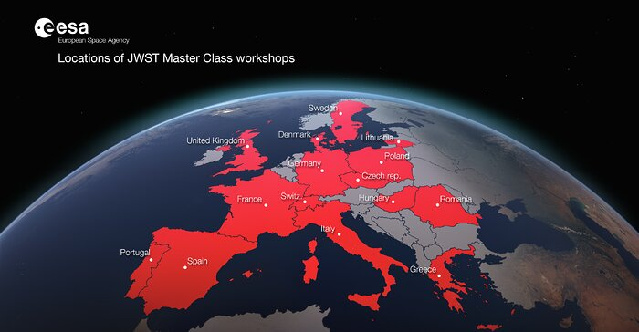 Locations of the JWST Master Class Workshops in 2020