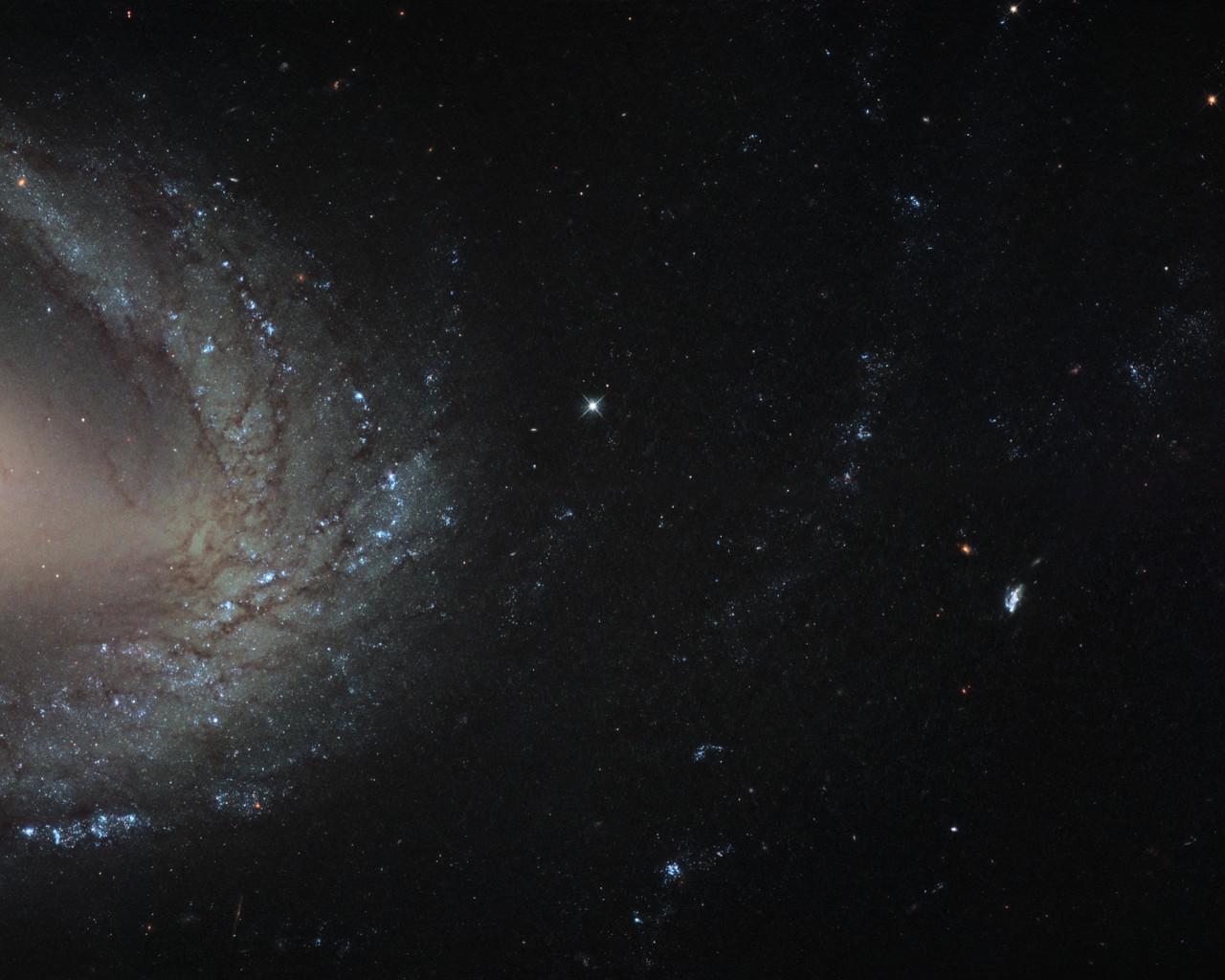 Карлик и великан: на этом снимке удалось запечатлеть два типа галактик: NGC 1512 (слева) и карликовую NGC 1510. Оба объекта находятся примерно в 30 млн. световых лет от нас, а их близость закончится полным поглощением «малютки».